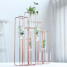 """19"""" long Rose Gold 5 Jointed Geometric Flower Vase Holders with Glass Test Tubes"""