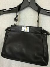 FENDI Purse Peekaboo Medium Black Leather Single Strap