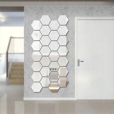 2017 Hexagon Mirror Silver Removable Decal Vinyl Art Wall Sticker DIY Home Decor