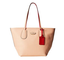 Coach Colorblock Leather Taxi Zip Tote - Apricot & Coral NWT $295 MSRP - F34355
