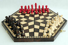 BRAND NEW BROWN 40CM THREE PLAYER WOODEN CHESS SET + RULES