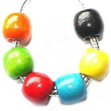 6 x Coloured Wooden Charms Beads Set For Silver Charm Bracelets st61