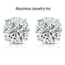 1Ct Solitaire Brillliant Round Diamond Screw Back Stud Earrings 14K White Gold