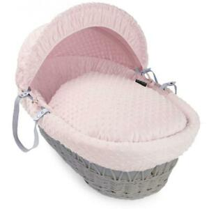 Isabella Alicia Designer Grey Wicker Moses Basket with Pink Dimple Dressing
