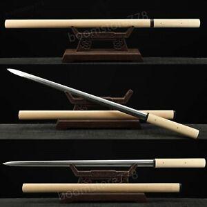 Handmade Shirasaya Folded Steel Double Edge Blade JIAN Sword White Saya Sharp