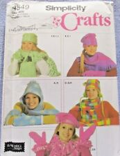 Simplicity Pattern 4849 One Size Crafts Misses Fleece Hat Scarf Beret Mittens