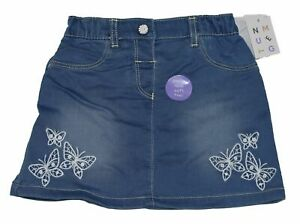 New Nutmeg Baby Girls Denim Look Butterfly Print Skirt - 0-24 Months - Free Post