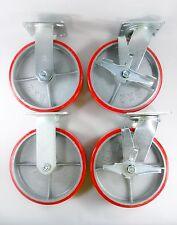 "8"" x 2"" Polyurethane On Cast Iron (Red) - Rigid (2EA) & Swivel with brake (2EA)"