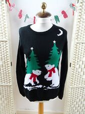CHRISTMAS acrylic tree and polar bear and moon black sweater/jumper child