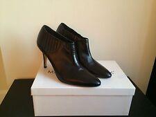 $895 NIB MANOLO BLAHNIK Livrea Leather Gore Ankle Boots Dark Brown size 7.5
