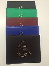 Leather PU Disabled Disable Badge Hologram Safe Parking Holder Wallet UK SELER