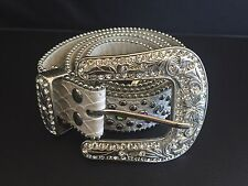 White Silver Studded Belt W Stones Large