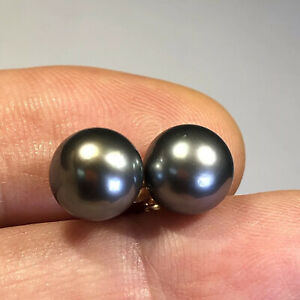 Tahitian Pearl Stud Earrings 14k Gold 9.5mm Silver-Black Round Natural Color W20