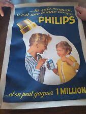 Ancienne affiche publicitaire Philips vintage en toile ( assez rare )