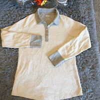 Duluth Trading Co Womens Tan Gray Collared Popover Top Sz M Long Sleeve 3/4 Roll