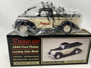 Snap-on 1940 Ford Pickup Locking Coin Bank 1/25 Scale 1997 Limited Ed.NEW IN BOX