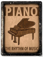 PIANO METAL SIGN plaque lessons MUSIC STUDIO ROCK vintage style wall decor 058