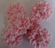 6 x Large pale pink lotus flowers edible sugar paste cake topper cupcakes