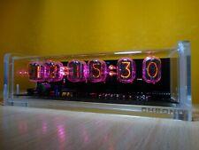 Retro style 6 x IN-12 Nixie Tubes Clock acrylic case pink LED backlight & alarm