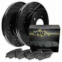 Hart Brakes Black Front Drill Slot Rotors + Ceramic Brake pads BHCF.76076.02