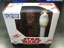 NEW 2pk Gift Set PEZ STAR WARS COLLECTOR'S CANDY TOY Porg & Chewbacca - NIB SAVE