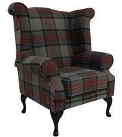 Chesterfield Edward Wing Armchair Beningborough Graphite Check Tweed Wool Tartan