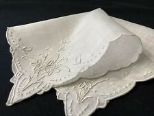 "#6389🌟Antique 1910s French Monogram ""Og� Floral Embroidery Wedding Handkerchief"