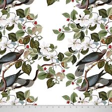 """Soimoi Bird And Floral Print 58"""" Wide Cotton Fabric Deocrative By The Mtr"""