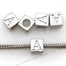 10pcs Carved Letter A Alphabet Alloy European Charms Beads Fit Bracelets DIY BS