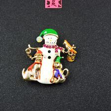 Pin Xmas Gift Betsey Johnson White Enamel Crystal Snowman Charm Brooch
