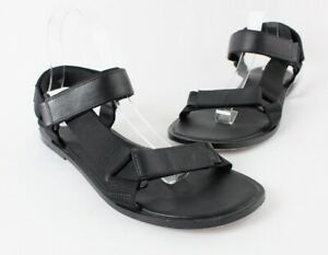 Vince Women's Black Leather Canvas Strappy Sandal Shoe Size 9
