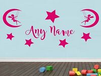 Personalised Butterfly Stars Any Name Vinyl Wall Sticker Art Decal Kids Bedroom