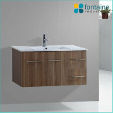 Bathroom Timber Finish Melamine Wall Mounted Hung Ceramic Basin Top 900 Wooden