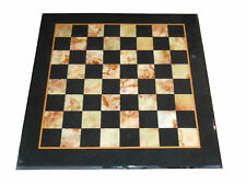 "12"" Black Marble Side Chess Table Top Tile Mosaic Inlay Marquetry Home Decor"