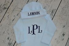 Monogrammed Baby Blue Newborn Gown and Hat Set, Baby Boy Take Home Gown