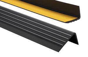 PVC Treppenkantenprofil Selbstklebend 41x25mm Kantenschutz 70-200cm schwarz