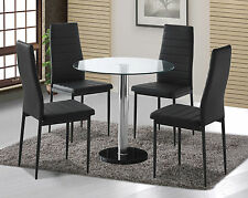 Round Clear Glass Dining Table Set and 4 Black Faux Leather Chairs Furniture New