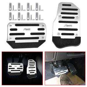 2x Chrome Non-Slip Automatic Car Gas Brake Pedals Pad Cover Universal Accessory