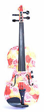 New 4/4 floral pattern electric acoustic violin outfit inc case rosin bow cable