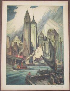 c. 1940 Nat Lowell Pencil Signed Aquatint Etching New York City Skyline