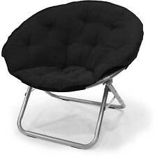 Large Microsuede Saucer Contemporary Chair Soft Seat Foldable Steel - Black