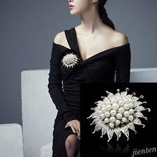 Wedding Bridal Silver Rhinestone Crystal Pearl Brooches Brooch Bouquet Pin