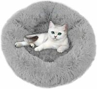 Pet Bed for Small Dogs Cats Soft Plush Fluffy Indoor Donut Cuddler Round Cat Bed