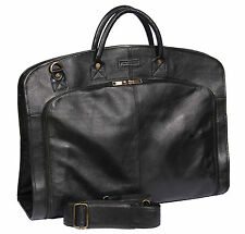 Genuine Leather Suit Carrier Bag BLACK Dress Garment Cover Travel Cabin Bag NEW