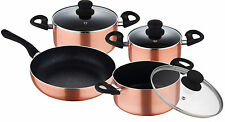 Renberg 7 Piece Copper Pan Set Copper Frying Pan Stock Pot With lids induction
