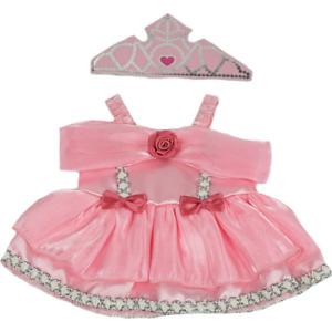 8-10 inch Pink Princess Dress & Crown Costume -teddy bear stuffed animal clothes