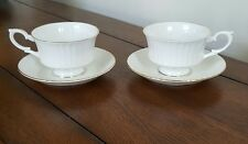 Set of 2 Royal Standard Tea Cups and Saucers White w/Gold Trim