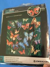 Artiste Beautiful Butterfly Design Needlepoint Kit Full Size Yarn New Rare