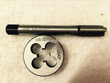 1pc HSS Machine 3/8-32 UNEF Plug Tap and 1pc 3/8-32 UNEF Die Threading Tool