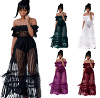 Women Off The Shoulder Ruffle Tassel Sexy Party Casual Maxi Lady Long Mesh Dress